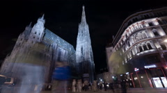 Night walk near Stephansdom in Vienna - Night Time Lapse Stock Footage