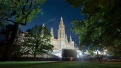 Stage in front of the Rathaus in Vienna - Night Time Lapse Stock Footage