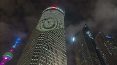 Bank of China office night time lapse, Shanghai financial business district Stock Footage