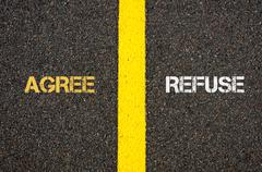 Antonym concept of AGREE versus REFUSE - stock photo