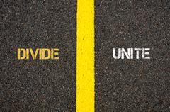 Antonym concept of DIVIDE versus UNITE - stock photo