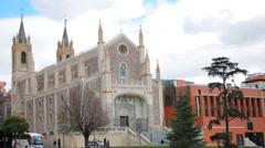 San Jeronimo Roman Catholic church in Madrid Stock Footage