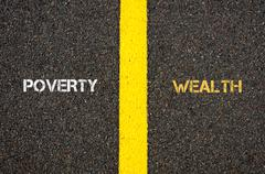 Antonym concept of POWERTY versus WEALTH - stock photo