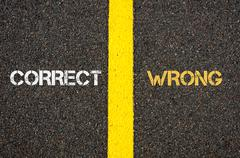 Antonym concept of CORRECT versus WRONG - stock photo