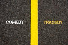 Antonym concept of COMEDY versus TRAGEDY - stock photo