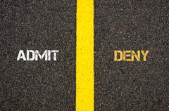 Antonym concept of ADMIT versus DENY - stock photo