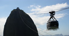 The famous Sugarloaf mountain in Rio de Janeiro close up. Brazil. Cable car Stock Footage