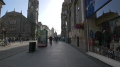 Stock Video Footage of Walking on High Street near Tron Kirk, Edinburgh