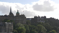 Bank of Scotland seen from Princes Street Gardens in Edinburgh Stock Footage