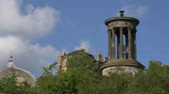 Dugald Stewart Monument on Calton Hill, Edinburgh Stock Footage