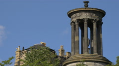 Dugald Stewart Monument on a sunny day in Edinburgh Stock Footage