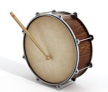 Wooden drum with stick Stock Illustration