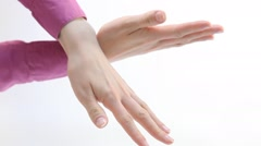Female hands demonstrating a gesture of prohibition Stock Footage