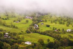 Landscape in spring time and rural areas of north east of  Artvin city, Turkey - stock photo
