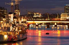 HMS Belfast on River Thames, London Stock Photos
