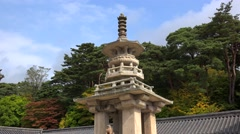 Dabotap Stone pagoda in the main courtyard of Bulguksa Temple. Gyeongju Stock Footage