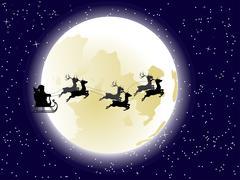 Flying Santa and Full Moon Stock Illustration