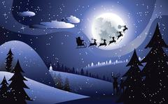 Flying Santa and Winter Forest - stock illustration