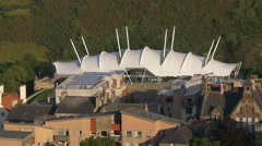 Dynamic Earth, a science museum and its surroundings, Edinburgh Stock Footage