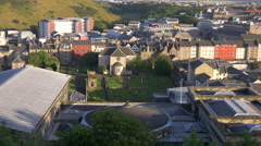 New Parliament House and Canongate Kirk seen from Calton Hill, Edinburgh Stock Footage
