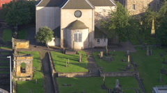 Canongate Kirk seen from Calton Hill in Edinburgh Stock Footage