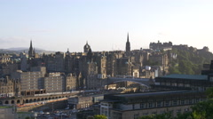 The North Bridge and other beautiful buildings seen from Calton Hill, Edinburgh Stock Footage