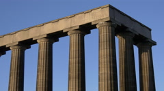 The National Monument of Scotland and a blue sky background, Edinburgh Stock Footage