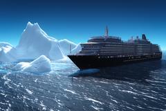 Cruise ship and iceberg - stock illustration