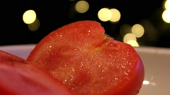 Tomatoes on plate - close-up 002 Stock Footage