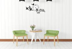 White room interior and vintage decorations - stock illustration
