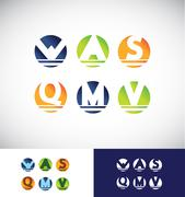 Circle sphere alphabet letter logo icon set Stock Illustration