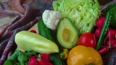 Still life with various fresh organic vegetables - stock footage