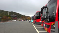 Parking of tourist buses. Gyeongju, South Korea. Stock Footage