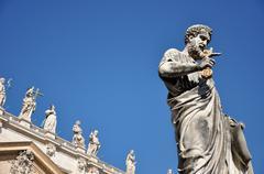 Statue of Saint Peter in Saint Peter square. Vatican city Stock Photos