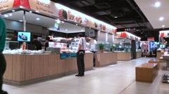Timelapse view of the interior of MBK food court Stock Footage