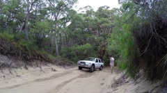4x4 getting stuck uphill on offroad track Stock Footage