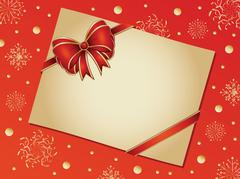 Retro card with red bow - stock illustration