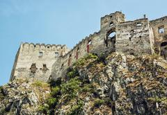 Ruins of Beckov castle on the high rock, Slovakia, beautiful place - stock photo