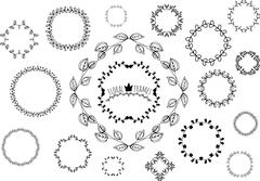 Ornamental hand drawn round frames for the page decoration - stock illustration