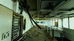 Abandoned/destroyed big business office motion control linear tracking timelapse Arkistovideo