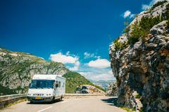 White colour Hymer motorhome car on background of French mountai Stock Photos