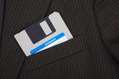 Floppy disc in a pocket - stock photo