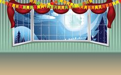 Wide Window Interior - stock illustration