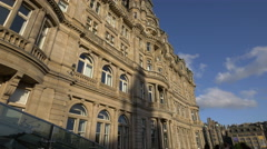 Beautiful old building in sunlight, Edinburgh - stock footage