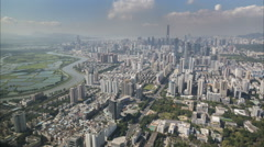 Shenzhen city skyline time lapse, Hong Kong border buffer zone, urban China - stock footage