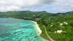 Aerial view of Anse Royale coast  (beach) on Mahe Island, Seychelles. Stock Footage