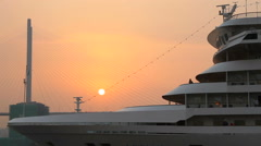 """Cruise liner """"ARTANIA"""" in the seaport at sunrise Stock Footage"""