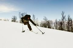 One-legged skier snowy slope Stock Photos