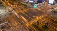 Night time lapse of traffic driving over busy intersection in Taipei, Taiwan Stock Footage