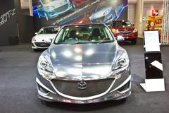 NEW MAZDA 3 show at the second Bangkok international auto salon 2013 - stock photo